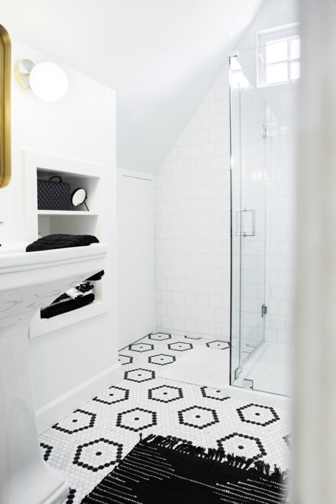 modern bathroom with mosaic tile floor