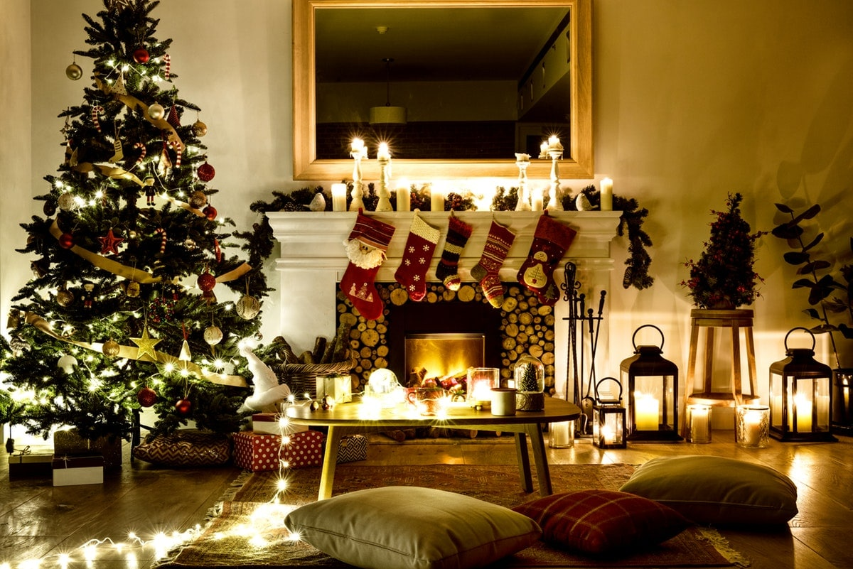 decorated living room during christmas